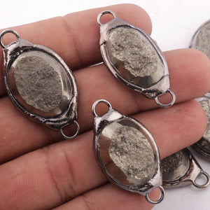 10 PCS One of a kind Rare Natural Pyrite Druzy Drusy Slice Electroforming Black Edge Double Bail Connector 34mmx18mm-38mmx20mm DRZ206 - Tucson Beads