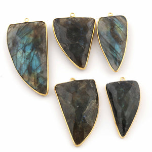 5 Pcs Labradorite Faceted Horn Shape 24K Gold Plated Single Bail Pendant -40mmx21mm-50mmx28mm PC401 - Tucson Beads