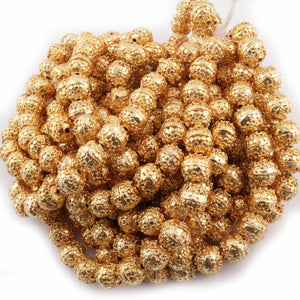 1 Strand 24k Gold Plated Designer Copper Casting Round Beads - Jewelry - 11mm 8 Inches GPC852 - Tucson Beads