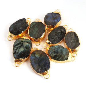 8 Pcs Natural Labradorite Oval Shape Bezel Connector ,Gold Plated Double Bail  Connector,Natural Shimmer Gray Gemstone DRZ276 - Tucson Beads