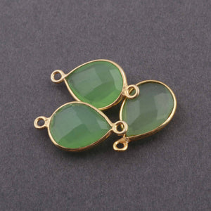 3 Pcs Green Chalcedony 925 Sterling Vermeil Faceted Pear Drop Pendant Connector - 18mmx11mm- 20mmx11mm SS610 - Tucson Beads