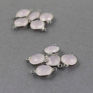 10 Pcs Rose Quartz Oxidized Silver Faceted Round Double Bail Connector - 17mmx11mm SS645 - Tucson Beads