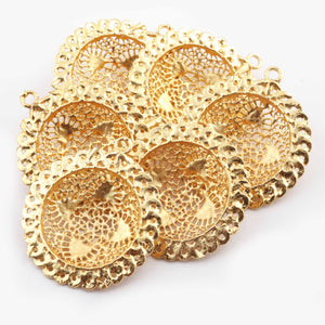 5 Pcs Designer Copper Casting Round Charm Pendant - 24k Gold Plated Round  - Copper Round With Filigree Design Pendant  48mmx43mm GPC889 - Tucson Beads