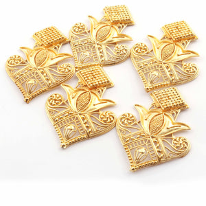 5 Pcs Designer Copper Casting Fancy Charm  - 24k Gold Plated  - Copper Fancy With Filigree Design Charm  51mmx40mm GPC891 - Tucson Beads
