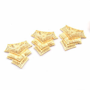 5 Pcs Designer Copper Casting Fancy Charm  - 24k Gold Plated  - Copper Fancy With Filigree Design Charm  51mmx51mm GPC904 - Tucson Beads