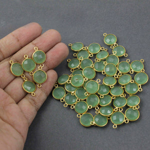 6  Pcs Green Chalcedony 925 Sterling Vermeil Faceted Round Double Bail Connector - 17mmx11mm SS710 - Tucson Beads
