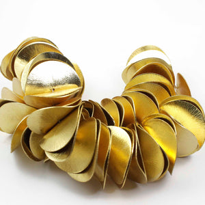 1 Strand Wavy Disc Beads 24k Gold  Plated On Copper- Potato Chips Beads 40mmx36mm 8 inches Strand GPC373 - Tucson Beads