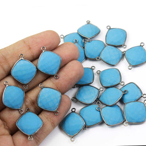 5 Pcs Turquoise Oxidized Sterling Silver Cushion Shape Double Bail Connector - 23mmx17mm SS747 - Tucson Beads