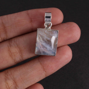 Beautiful Genuine and Rare Rainbow Moonstone Square Shape Pendant - 925 Sterling Silver - Gemstone Pendant SJ338 - Tucson Beads
