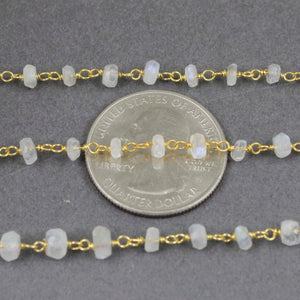 1 Feet White Rainbow Moonstone 3mm-4mm Rosary Style Rondelle Beads Chain - Wire Wrapped 925 Sterling Vermeil Chain SRC118 - Tucson Beads