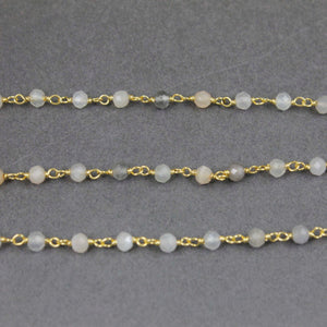Multi Moonstone 3mm-3.5mm Beads Rosary Style Beaded Chain - Multi Moonstone  Beads Wire Wrapped 925 Sterling Vermeil Chain SRC114 - Tucson Beads