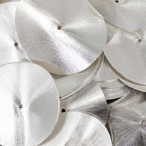 5 Pcs Wavy Disc Beads 925 Silver Plated On Copper -Potato Chips Beads -Loose Wave Disc Beads  40mmx37mm GPC940 - Tucson Beads