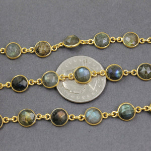 1 Foot Labradorite Round Shape Connector Chain - 925 Sterling Vermeil Bezel Continuous Connector Beaded Chain 5mm SRC124 - Tucson Beads