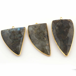 3 Pcs Labradorite Faceted Assorted Shape 24K Gold Plated Single Bail Pendant -40mmx21mm-52mmx27mm PC400 - Tucson Beads