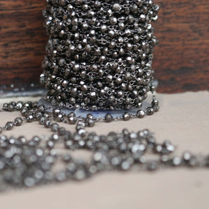 1 Feet Black Pyrite Rosary Style Beaded Chain- Oxidized  Sterling Silver Wire Wrapped Chain Faceted Rondelle Beads 3-4mm SRC021 - Tucson Beads