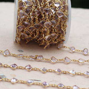 1 Foot Amethyst Trillion Shape Connector Chain - 925 Sterling Vermeil Bezel Continuous Connector Beaded Chain 14mmx9mm SRC201 - Tucson Beads