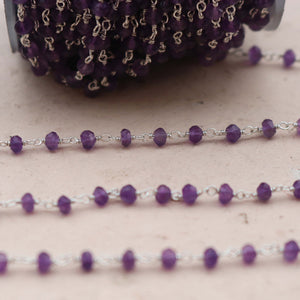 1 FOOT Amethyst Rosary Style Beaded Chain - Amethyst  3mm-4mm  Beads wire wrapped 925 sterling silver chain per foot SRC202 - Tucson Beads