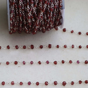 1 feet Mozambique Garnet 3.5-4MM Rosary Style Beaded Chain -Garnet Beads wire wrapped 925 Sterling Silver Chain SRC211 - Tucson Beads