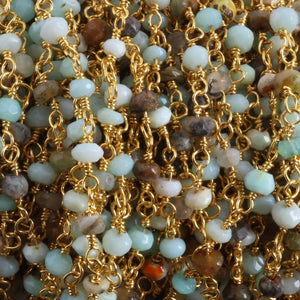 5 FEET Peru Opal Rosary Style Beaded Chain - Peru opal Faceted Rondelle Beads Wire Wrapped 24k Gold Plated Chain 2mm-3mm SC079 - Tucson Beads