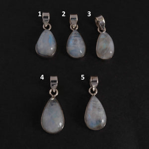 Beautiful Genuine and Rare Rainbow Moonstone Pear Pendant - 925 Sterling Silver Pendant- Gemstone Pendant (YOU CHOOSE) SJ330 - Tucson Beads