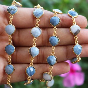 Blue Oregon Opal Heart Shape Connector Chain - Blue Opal 24k Gold Plated Bezel Continuous Connector Beaded Chain 16mmx9mm SC182 - Tucson Beads