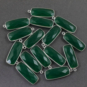 9 Pcs Green Onyx Faceted Rectangle Shape Silver Plated Connector/ Pendant  30mmX11mm-33mmX11mm PC164 - Tucson Beads