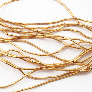 10 Strands Pipe Beads AAA Quality 24k Gold Plated 8mmx2mm  8 inch Strand Gpc497 - Tucson Beads