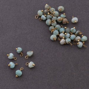 30 PCS Top Quality Larimar 24K Gold Plated Beads-- Larimar Loose Gemstone Bead 4mm LGS705 - Tucson Beads