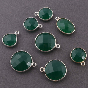 8 Pcs1 green onyx Sterling Silver Faceted round Shape pendant  shape 16mmx12mm-18mmx13mm SS121 - Tucson Beads