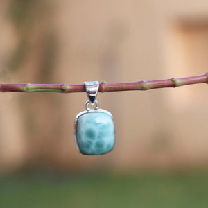 Genuine and Rare Larimar Pendant - 925 Sterling Silver- Gemstone Pendant  SJ305 - Tucson Beads