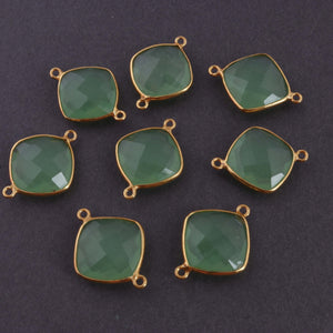 8 Pcs 925 Sterling Vermeil Green Chalcedony Faceted Cushion Shape Double Bail Connector - Chalcedony Connector 23mmx17mm SS882 - Tucson Beads