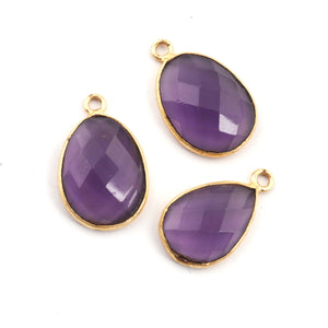 22 Pcs Amethyst Faceted Pear Shape 24k Gold Plated Single Bail Pendant - Pear Drop Pendant 19mmx16mm-25mmX15mm PC233 - Tucson Beads