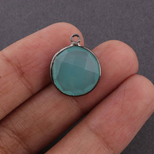 5 Pcs Blue Aqua Chalcedony Faceted Round Shape Pendant Oxidized Sterling Silver - 18mmx15mm SS895 - Tucson Beads