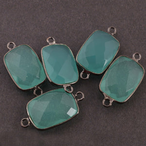 5 Pcs Aqua Chalcedony Faceted Rectangle Shape Oxidized Sterling Silver Double Bail Connector- 21mmx11mm SS897 - Tucson Beads