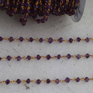 1 feet Amethyst beads rosary chain, 3.5-4mm Sterling vermeil wire wrapped link Stone rosary Chain SRC210 - Tucson Beads