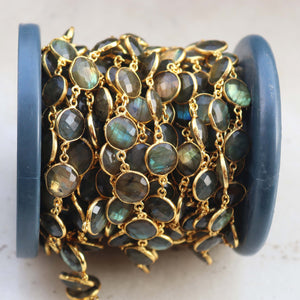 1 Foot Labradorite Round Shape Connector Chain - Labradorite 24k Gold Plated Bezel Continuous Connector Beaded Chain 18mmx12mm SC408 - Tucson Beads