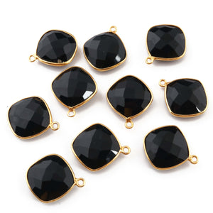 10 Pcs Black Onyx 925 Sterling Vermeil Faceted Cushion Shape Single Bail Pendant - 20mmx17mm SS091 - Tucson Beads