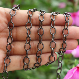 1 Foot Oxidized Sterling Silver Chain - Cable Oval Link Chain - Curb Chain - Necklace Chain - Soldered Chain 10mmx7mm SRC139 - Tucson Beads