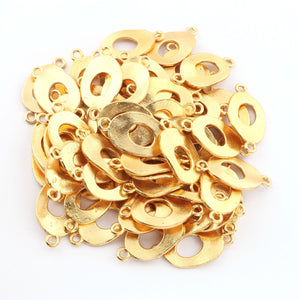 10 Pcs Gold Plated Twisted Oval Charm Connector - 24k Matte Gold Plated - Copper Gold Oval Connector 28mmx15mm GPC395 - Tucson Beads