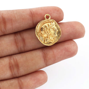 5 Pcs Designer Gold Plated Copper Round Charm Pendant - 24k Gold Plated - Both Side Designer Charm 23mmx18mm GPC063 - Tucson Beads