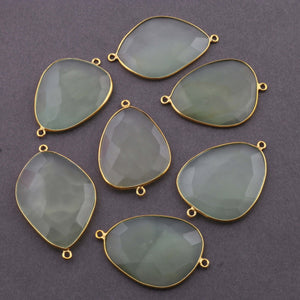 7 Pcs Green Chalcedony 24k Gold Plated Faceted Fancy Shape Double Bail Connector  37mmx25mm-43mmx27mm PC413 - Tucson Beads