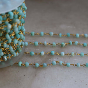 5 FEET Peru Opal Rosary Style Beaded Chain - Peru opal Faceted Rondelle Beads Wire Wrapped 24k Gold Plated Chain 4mm SC373 - Tucson Beads