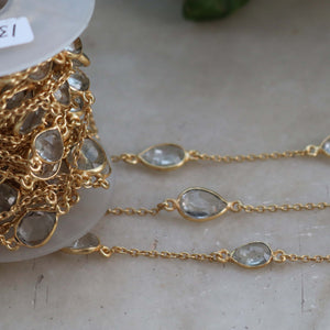 3 Feet Crystal Quartz Pear Connector Chain - Crystal Quartz 24k Gold Plated Bezel Continuous Connectors Beaded Chain 18mmx7mm-20mmx9mm SC411 - Tucson Beads