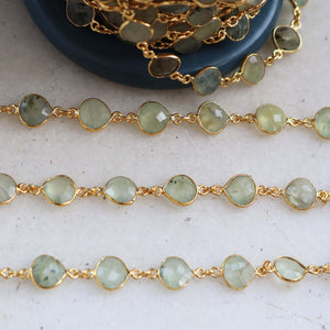 1 Feet Prehnite Heart Shape Connector Chain - Prehnite 24k Gold Plated Bezel Continuous Connector Beaded Chain 16mmx9mm Sc181 - Tucson Beads