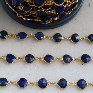 1 Feet Lapis Heart Shape Connector Chain - Lapis 24k Gold Plated Bezel Continuous Connector Beaded Chain 16mmx9mm SC183 - Tucson Beads