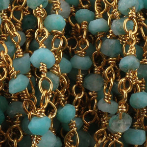 5 Feet Shaded Amazonite Rosary Style Beaded Chain, 3mm-4mm -  Amazonite Beads wire wrapped Chain, 24k Gold Plated chain  SC370 - Tucson Beads