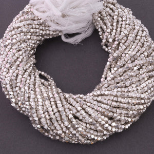 2 Strands AAA Quality Diamond Cut Cubes Beads 925 Silver Plated Box Shape Beads 3mm 13 Inch Strand GPC460 - Tucson Beads