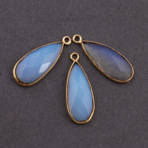 Ice Quartz 24k Gold  Plated Pendant-- Opalite Single Bail pendant 19mmx11mm-26mmx10mm PC245 - Tucson Beads