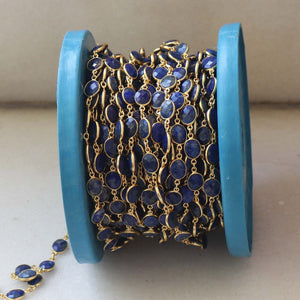 1 Feet Beautiful Lapis Oval Stone Connector Chain,925 Sterling Vermeil Bezel Continuous Connectors Chain 15mmx8mm  SRC178 - Tucson Beads