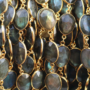 1 Foot Labradorite Assorted Shape Connector Chain 24k Gold Plated Bezel Continuous Connector Beaded Chain 23mmx13mm-25mmx14mm SC353 - Tucson Beads